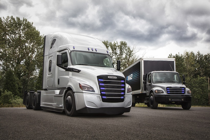 Daimler Trucks North America says battery-electric vehicles like the eCascadia and eM2 are the...