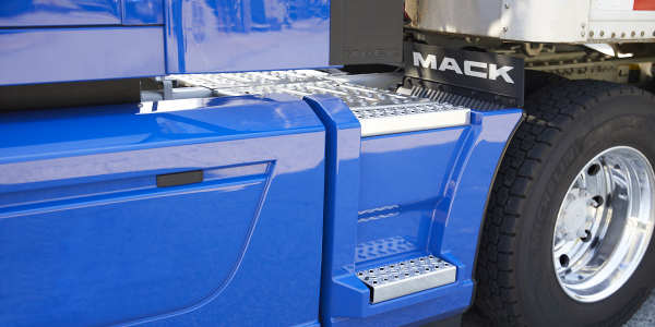 The extended chassis fairing option for Mack's flagship Anthem truck is designed to improve fuel...