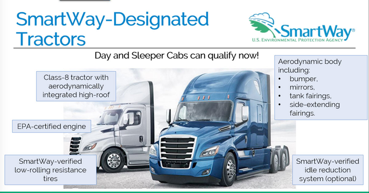 Fleets running fuel-efficient regional day cabs can now get their trucks recognized by SmartWay.  - EPA presentation