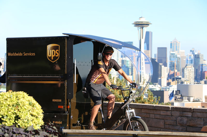 UPS says the cargo bike, which can run on battery or human power, will be able to make deliveries to areas conventional delivery trucks can't access directly.  - Photo: UPS