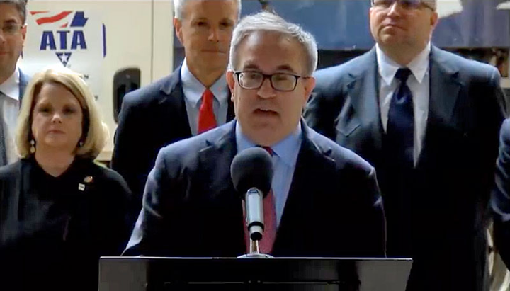 "EPA Acting Administrator Andrew Wheeler announcing the agency's ""Cleaner Trucks Initiative"" on Nov. 13.
