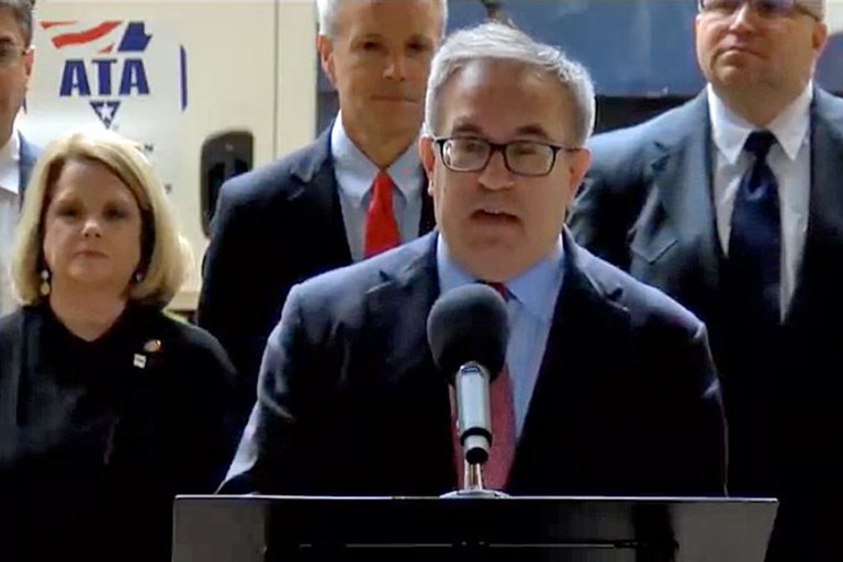 """EPAActing Administrator Andrew Wheeler announcing the agency's """"Cleaner Trucks Initiative"""" on..."""