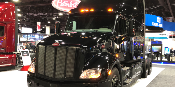A Peterbilt Model 579 UltraLoft decked out in a new Blackout exterior package at TMC.