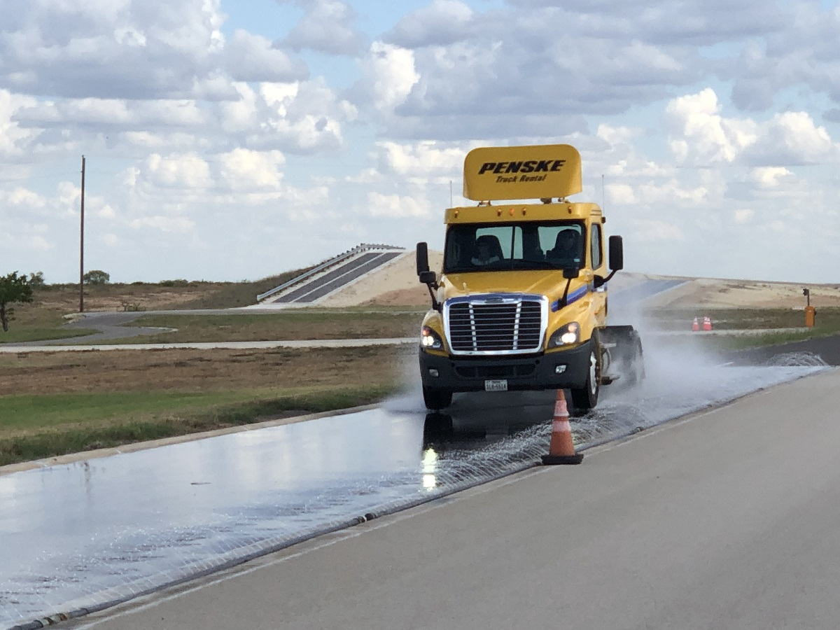 Continential showcased the improved stopping distances of its new Conti Generation 3 Construction Tires on a skid pad at its Uvalde, Texas, proving grounds during a combined customer event and press briefing.  -