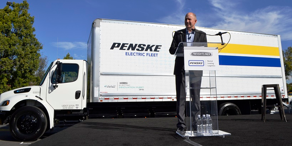 Daimler Trucks North America delivered the its Freightliner eM2 electric truck to Penske Truck...