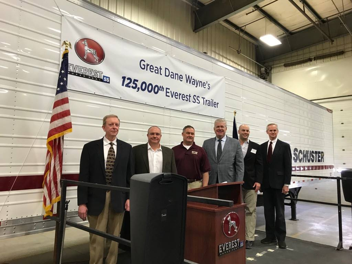 The Great Dane manufacturing facility in Wayne, Nebraska hit a new milestone, producing its 125,000th trailer, an Everest Single-Temp reefer designed for Schuster Company.  - Photo via Great Dane Facebook Page