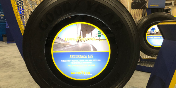 The new Goodyear Endurance LHS steer tire has already logged more than 13 million test miles,...