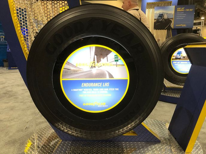 The new Goodyear Endurance LHS steer tire has already logged more than 13 million test miles, with one tire logging more than 214,000 miles before removal.