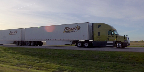 Two long-combination B-train vehicles operated by Bison Transport and Trimac Transportation will...