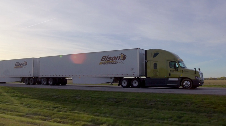 Two long-combination B-train vehicles operated by Bison Transport and Trimac Transportation will travel up to 430 miles on return trips between terminals in Edmonton and Calgary, Alberta, on a single hydrogen fill.