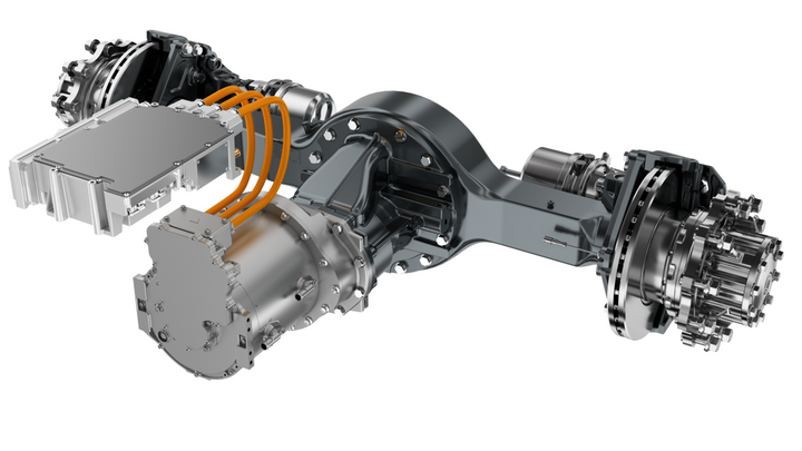 The trucks in the test will be powered by Dana's eS6200r e-Drive Axle with the Sumo HP motor and inverter. Dana did not elaborate on the motor's ratings except to say it would be roughly equal to the 500- to 550-hp diesel powertrains currently used in that application.