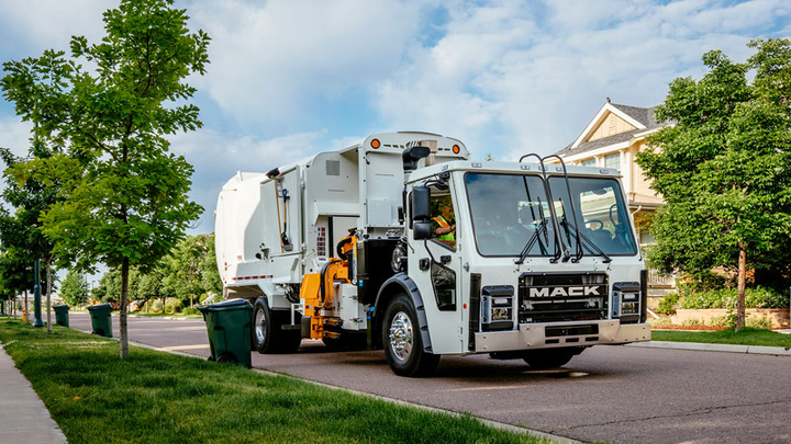 New upgrades to the Mack LR include a passenger side sliding glass window for superior visibility, and a Sears C2 PLUS air suspension seat for enhanced driver comfort.  - Photo courtesy Mack Trucks