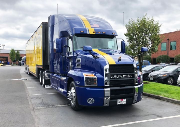 A Mack Anthem tractor-trailer in Vital Speed Motorsports livery on display at TEC Equipment's headquarters in Portland, Oregon.