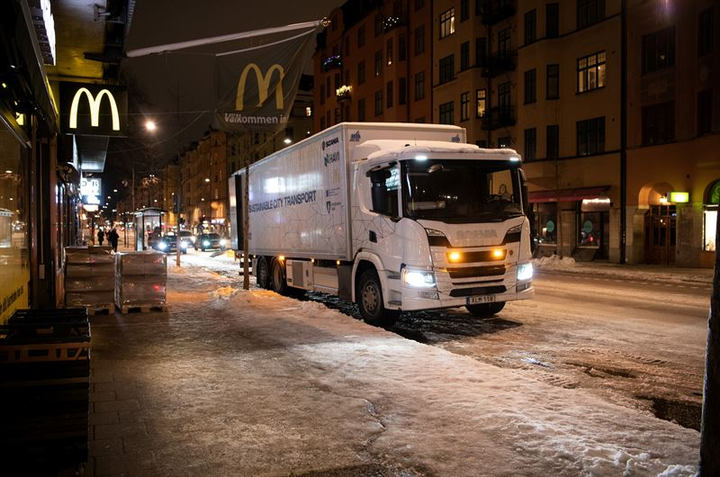 A new pilot program in Stockholm, Sweden will test quiet hybrid trucks making overnight deliveries to McDonald's restaurants in the area, to see if the vehicles can avoid traffic and remain silent.  - Photo courtesy Scania