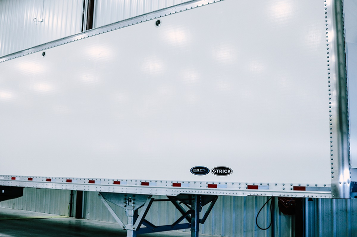 Strick Trailers has released a fiberglass reinforced composite dry van trailer, offering a combination of light weight, durability, longevityand low-cost maintenance.  - Photo courtesy Strick Trailers