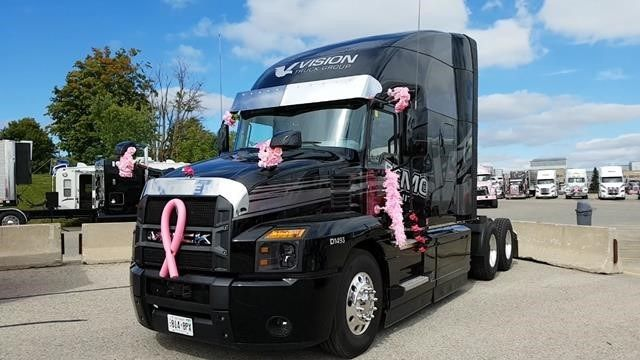 """Trucking For a Cure"" recently held their annual truck convoy to raise money in support of the Canadian Cancer Society. The Owner-Operators Business Association of Canada team fielded a Mack Anthem model provided by Mack Trucks dealer Vision Truck Group, which helped them raise $3,340 CAD in pledged donations.