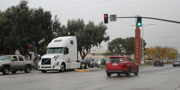 Volvo VNL equipped with prototype Eco-Drive technology during testing near the San Pedro Bay...