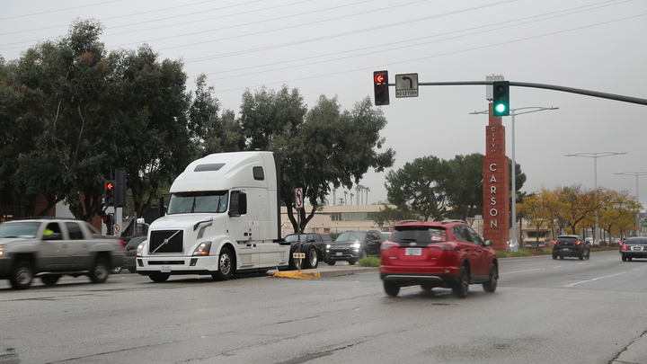 Volvo VNL equipped with prototype Eco-Drive technology during testing near the San Pedro Bay ports in Southern California.  - Photo courtesy Volvo Group
