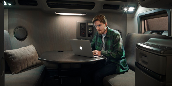 Volvo Trucks' workstation option adds a more flexible working environment for drivers while out...