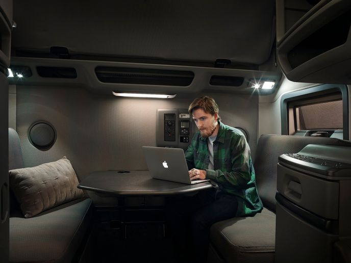 Volvo Trucks' workstation option adds a more flexible working environment for drivers while out on the road.