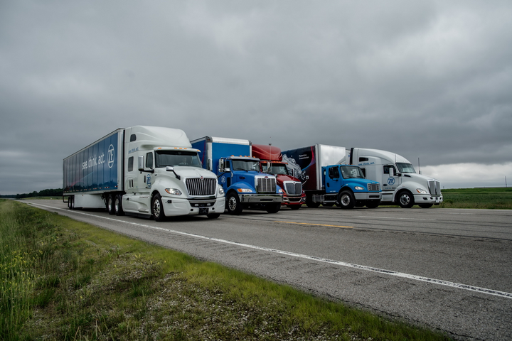 ZF brought a mixed fleet of trucks to the demonstration at the Transportation Research Center in Ohio in June.
