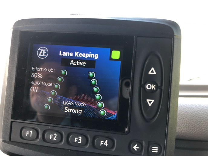 Drivers are alerted to the status of the OnTrax Lane Keeping Assist feature through an in-dash display.