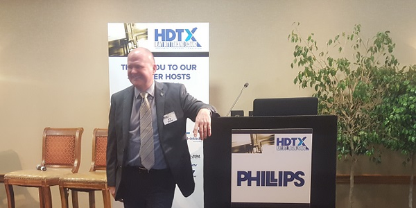 Eric Starks, CEO of FTR, speaks at the 2018 HDTX conference in Scottsdale, Arizona. Photo:...