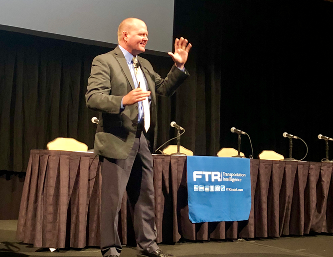 FTR's Eric Starks kicking off a session at the FTR Conference in Indianapolis in September.