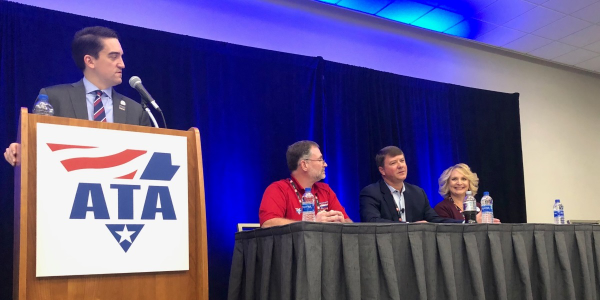 Moderator Dan Horvath of ATA and panelists (l-r) Bill Goins of Old Dominion Freight Lines, Jim...