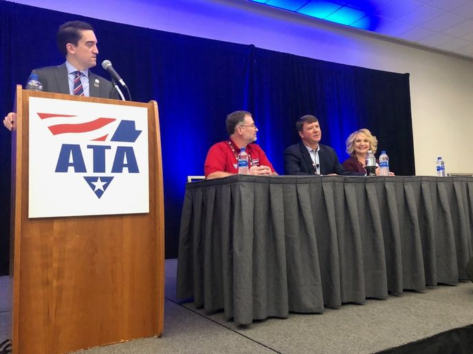 Moderator Dan Horvath of ATA and panelists (l-r) Bill Goins of Old Dominion Freight Lines, Jim Mullen of FMCSA, and Lisa Gonnerman of Transport America discuss real-world aspects of rolling out the ELD rule.