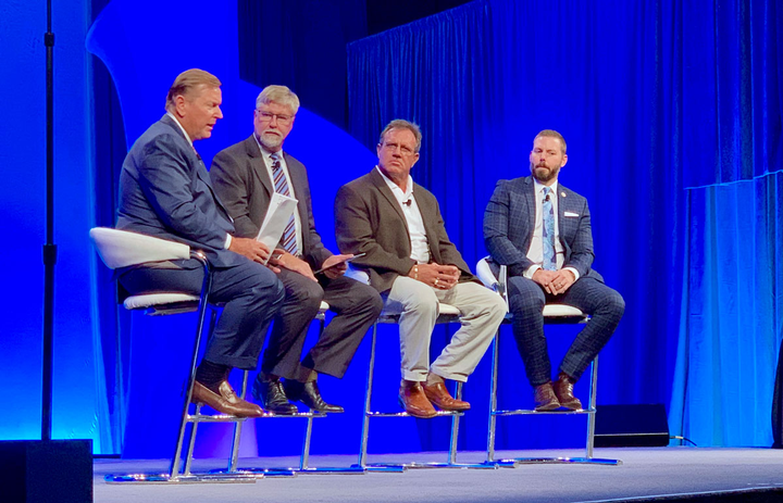 A panel discusses marijuana issues. From left: Harold Sumerford, J&M Tank Lines; Greer Woodruff, JB Hunt; Todd Simo, HireRight; and Panelists: Paul Enos: Nevada Trucking Association.
