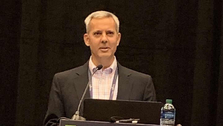 Dave Osiecki, Scopelitis Transportation Consulting, addresses attendees during a session of regulatory 'hot topics' during the Trimble in.sight 2019 user conference.  - Photo: Jim Beach