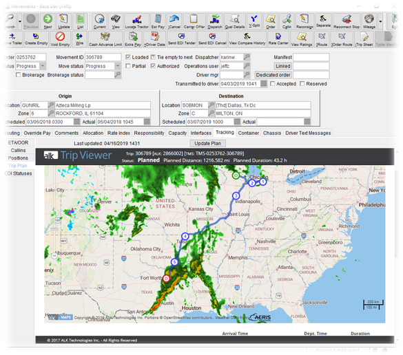 Trip Management takes into account real-time weather.