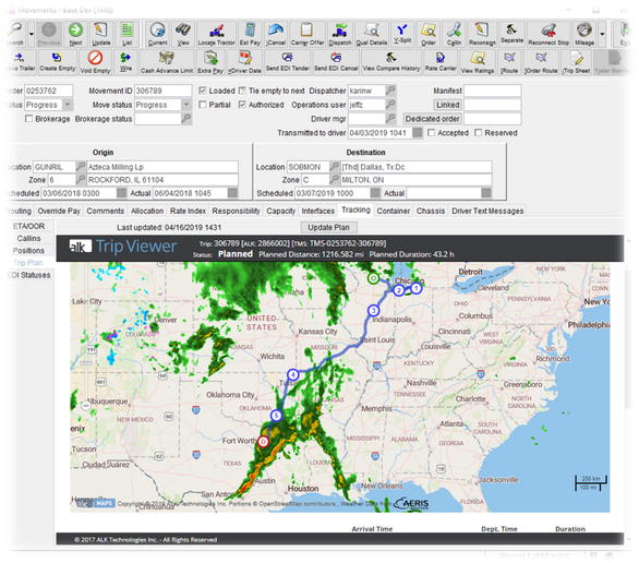 Trip Management takes into account real-time weather.  - Photo courtesy McLeod Software