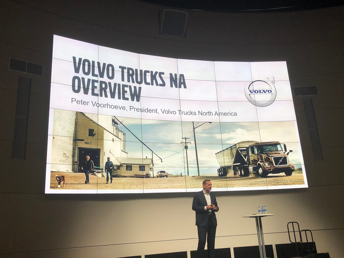 At the Volvo Customer Center in Dublin, Virginia, Volvo Trucks unveiled a host of new and upgraded safety systems as well as a brand-new Class 8 electric VNR tractor.  - Photo: Jack Roberts