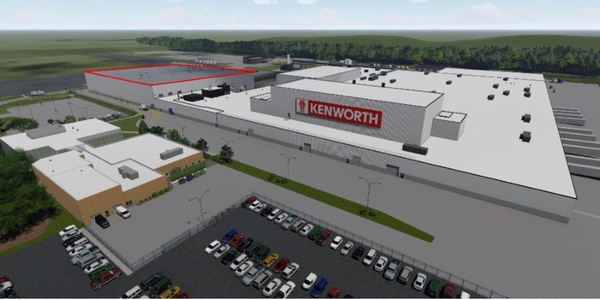 Red markings indicate new paint shop that's being build adjacent to Kenworth's assembly plant in...