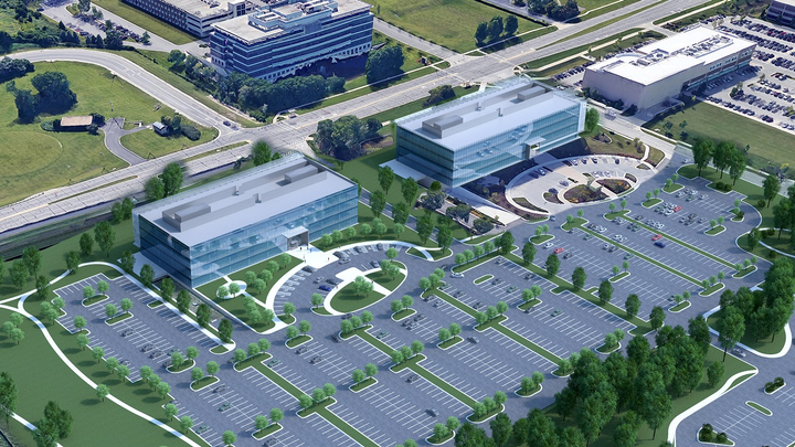 Hub Group has broken ground on a second building at its Oak Brook, Illinois, headquarters campus.  - Image courtesy Hub Group