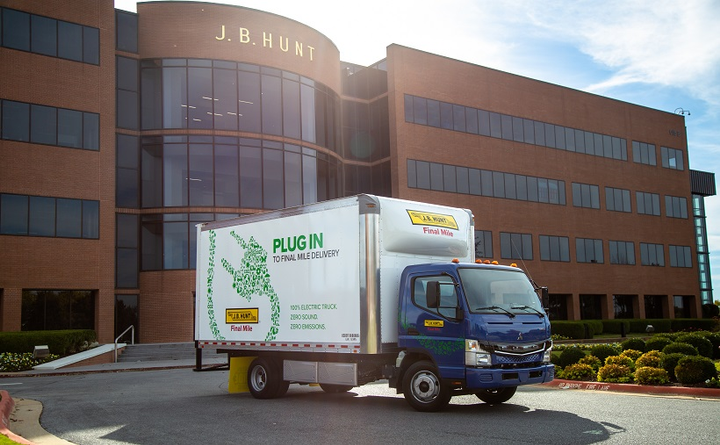 J.B. Hunt has added five Fuso eCanter electric trucks to its Final Mile Services division.