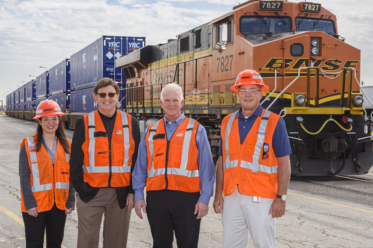 By the end of the year, YRC and BNSF Railway Company will have onboarded more than 600 branded intermodal containers to improve efficiency.  - Photo courtesy YRC Freight