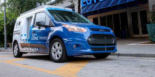 Ford says Transit Connect vehicles in a pilot program in Miami are equipped to look like they...