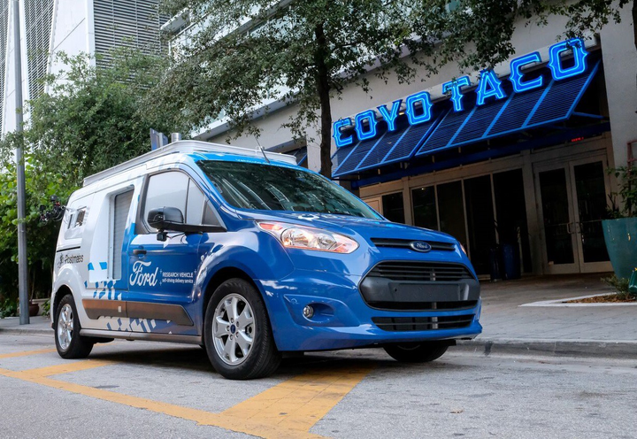 Ford says Transit Connect vehicles in a pilot program in Miami are equipped to look like they are operating autonomously in order to research how customers interact with self-driving delivery vehicles. 