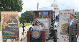 ATD Chairwoman Jodie Teuton spoke at the Modernize the Truck Fleet rally in Washington, D.C., urging Congress to pass a bill repealing the 12% Federal Excise Tax.  - Photo via NADA