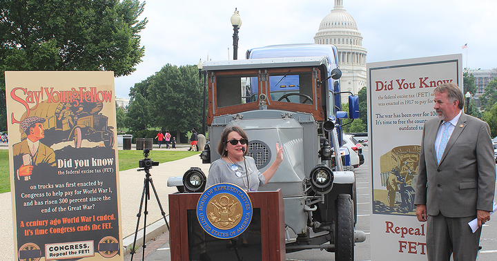 ATD Chairwoman Jodie Teuton spoke at the Modernize the Truck Fleet rally in Washington, D.C., urging Congress to pass a bill repealing the 12% Federal Excise Tax.
