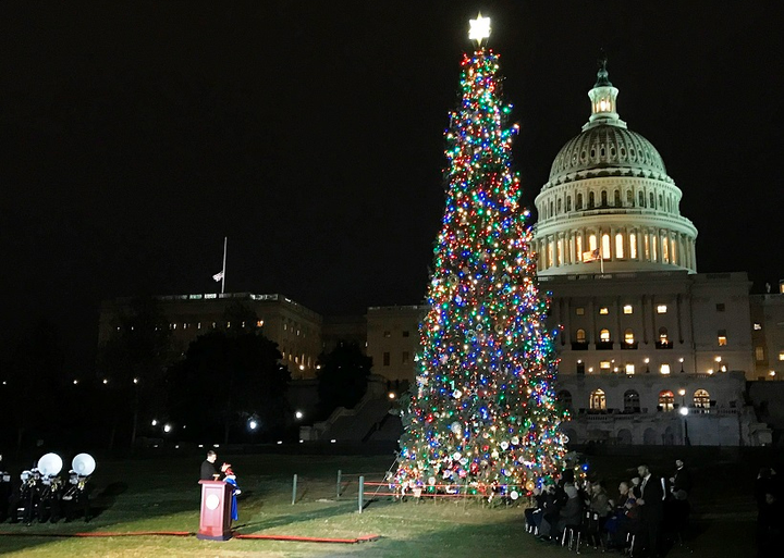 U.S. Speaker of the House Paul Ryan hosted the Capitol Christmas Tree lighting ceremony, a tradition going back to the 1960s. 