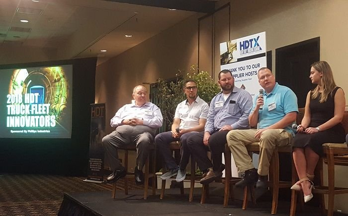 (Left to right) Tom Schilli, Sergio Rojas, Cory Jackson, Joel Morrow, and Andreea Crisan talk with HDT equipment editor Jim Park about their pathways to success. Photo: Kim Pham