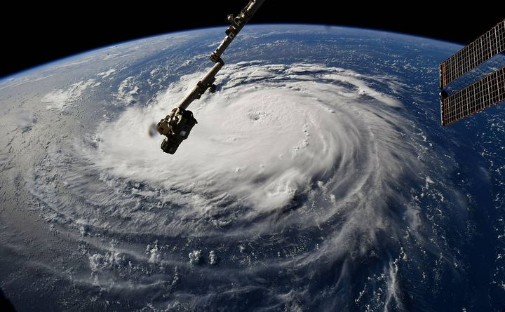 The FMCSA has declared an emergency in multiple states along the east coast in anticipation of Hurricane Florence, seen here from the International Space Station. 