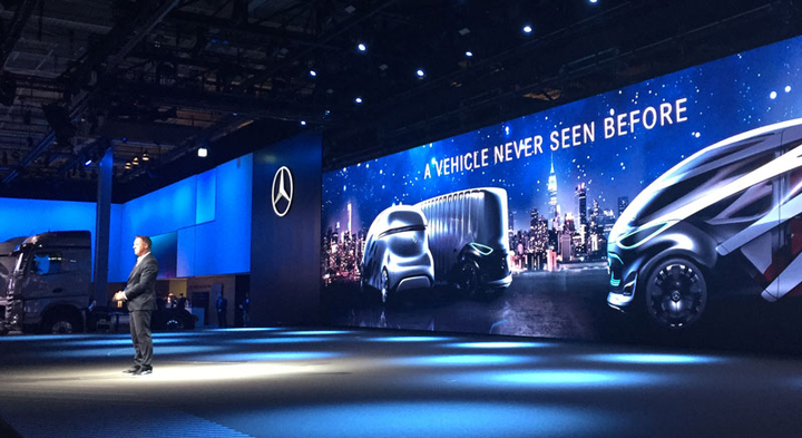 Headline-generating projects like these autonomous concept vans from Mercedes help Daimler gain knowledge that helps them develop real-world products, Daum said.  - Photo by Deborah Lockridge.