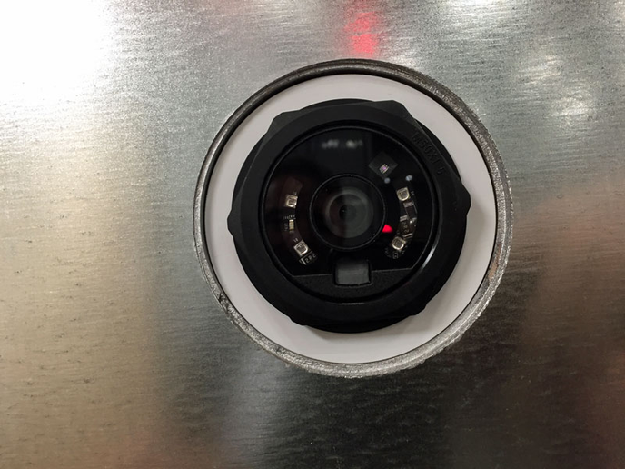ID Systems' new camera-based LV-710 sensor is mounted right in the trailer or container door to give visibility inside the trailer -- even when the doors are closed and sealed. - Photo by Deborah Lockridge