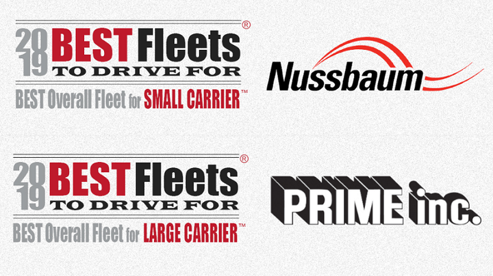Nussbaum Transportation and Prime Inc., were named the Best Overall Fleet in their respective categories in the Truckload Carriers Associations' 2019 Best Fleets to Drive For Contest.