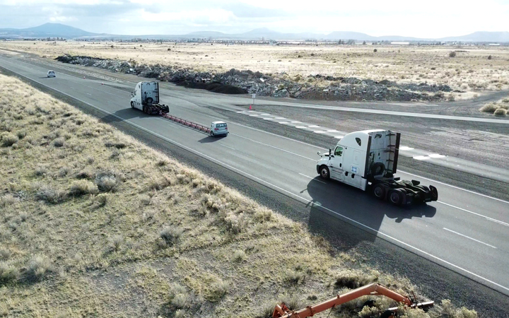 Daimler Trucks North America has been doing testing of platooning technology, which it calls pairing, at its new Madras, Oregon, proving grounds.  - Photo courtesy Daimler Trucks